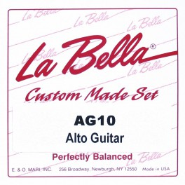 LaBella Multi-Size Guitars snarenset altgitaar, 530mm mensuur, clear nylon trebles, silverplated basses