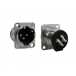 Switchcraft XLR chassis connector, male, voor N-style D-hole