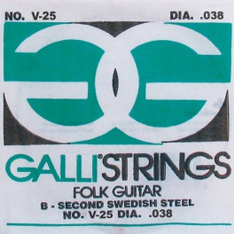 Galli Folk Guitar A-5 snaar voor akoestische gitaar, 038, silverplated wound on silk and steel
