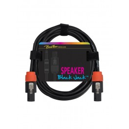 Black Jack speaker kabel, zwart, 2 meter, speakon + speakon, 2 x 1,5mm