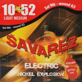 Savarez Nickel Explosion snarenset elektrisch, nickel wound medium light wound G, 010-013-018w-030w-042w-052