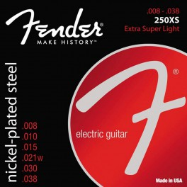 Fender Super 250s string set electric nickel roundwound extra light 008-011-014-021w-030-038