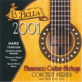 LaBella 2001 Series snarenset klassiek, professional flamenco, high tension, black nylon trebles, silverplated basses