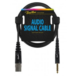 Audio signaalkabel, XLR male naar 6.3mm jack stereo, 0.75 meter
