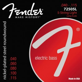 Fender Super 7250s string set electric bass 5 nickel roundwound light 040-060-080-100-115