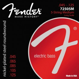 Fender Super 7250s string set electric bass 5 nickel roundwound medium 045-065-085-105-125