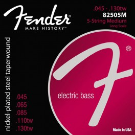 Fender Super 8250s string set electric bass 5 (strings through body) nickel roundwound medium 045-065-085-110TW-130T