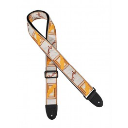 Fender 2  guitar strap 'Monogrammed' white-brown-yellow
