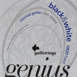 Galli Genius snarenset klassiek, hard tension, black trebles en silverplated basses, 028-032-040-029-037-044