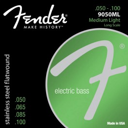 Fender Stainless 9050s string set electric bass stainless steel flatwound medium light 050-065-085-100