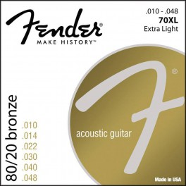 Fender 80/20 Bronze string set acoustic bronze roundwound extra light 010-014-022-030-040-048