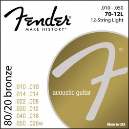Fender 80/20 Bronze string set acoustic 12 bronze roundwound light 010-010-014-014-022-008-030-012-040-018-050-026w