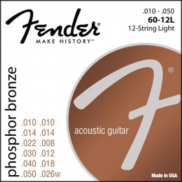 Fender Phosphor Bronze string set acoustic 12 ph.bronze roundwound light 010-010-014-014-022-008-030-012-040-018-050-02