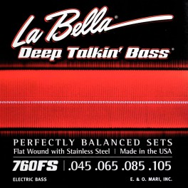 LaBella Deep Talkin' Bass snarenset elektrisch basgitaar, stainless steel flatwound, standaard, 045-065-085-105