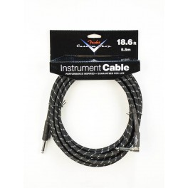 Fender Custom Shop Series instrument cable 18.6ft black tweed 1x angled