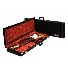 Fender deluxe case for electric guitar leather handle and ends black tolex & orange plush interior
