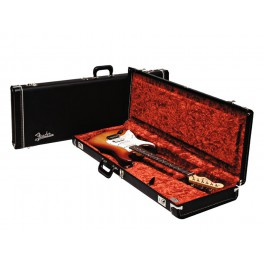 Fender deluxe case for electric guitar leather handle and ends black tolex & orange plush interior left