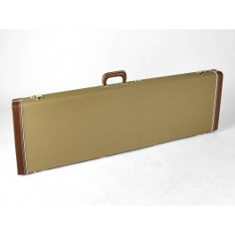 Fender deluxe case for Jazz Bass/Jaguar Bass leather handle and ends tweed & red poodle plush interior