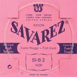 Savarez B-2-snaar, clear nylon (rouge), sluit aan bij 520-R set, hard tension