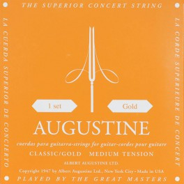 Augustine Black Label snarenset klassiek, clear nylon trebles & goldplated basses, medium hard tension