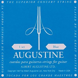 Augustine Blue Label snarenset klassiek, clear nylon trebles & silverplated basses, extra hard tension