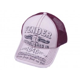 Fender Clothing Headwear stratocaster trucker cap, off-white/wine, one size fits most