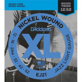D'Addario XL Jazz snarenset elektrisch, roundwound, light, 012-016-024-032-042-052