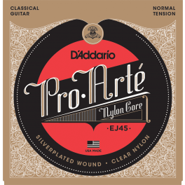 D'Addario Pro Arte snarenset klassiek, normal tension, clear nylon trebles en silverplated basses, 028-032-040-029-035