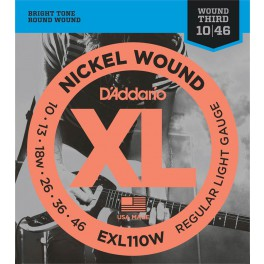 D'Addario XL Nickel Round Wound snarenset elektrisch, regular light wound 3rd, 010-013-018w-026-036-046, EXL110W