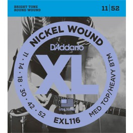 D'Addario XL Nickel Round Wound snarenset elektrisch, medium top heavy bottom, 011-014-018-030-042-052