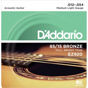 D'Addario 85/15 Bronce snarenset akoestisch, silverplated, Medium Light 12-16-25-34-44-54