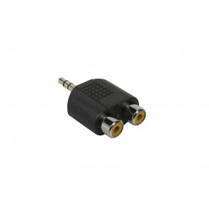 Verloop plug, 2 x RCA female, 3,5mm jack male stereo