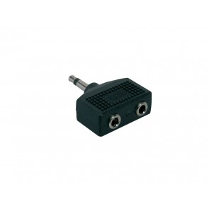 Verloop plug, 2 x 3,5 jack female mono, 3,5mm jack male mono