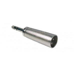 Verloop plug, XLR male metaal, 6,3mm jack male stereo