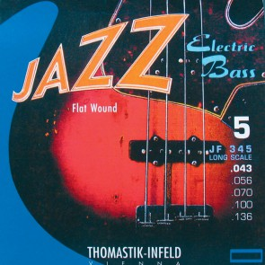 Thomastik Jazz snarenset 5-snarige basgitaar, nickel flatwound, 043-056-070-100-136, longscale