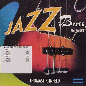 Thomastik Jazz snarenset 6-snarige basgitaar, nickel flatwound,033-043-056-070-100-136, longscale