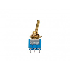 Mini toggle switch 2-way, on-on, gold lacquer