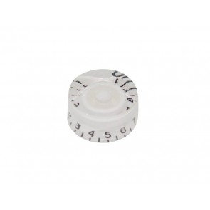 Speed knob (hatbox), transparent white, for inch type pot shaft