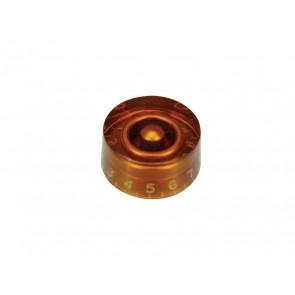 Speed knob (hatbox), transparent amber, for inch type pot shaft