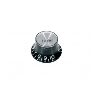 Bell knob SG model, black with chrome cap, volume, for inch type pot shaft