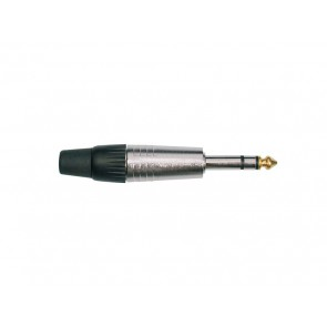 Jack plug, 6,3mm, 3-polig, aluminium, rubber 7,5mm