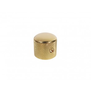 Dome knob, metal, gold, diam 18,0mmx18,5mm, with set screw, shaft size 6,1mm