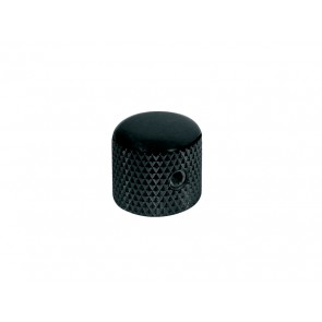 Dome knob, metal, black, diam 15,0mmx15,0mm, with set screw allen type, shaft size 6,1mm