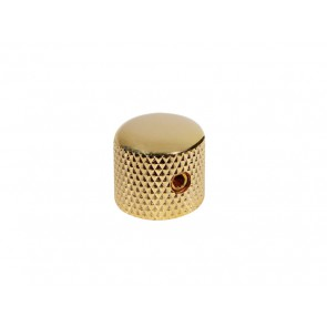 Dome knob, metal, gold, diam 15,0mmx15,0mm, with set screw allen type, shaft size 6,1mm