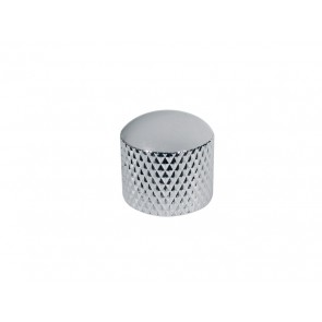 Dome knob, metal, chrome, diam 19,0mmx19,0mm, push on, shaft size 6,0mm