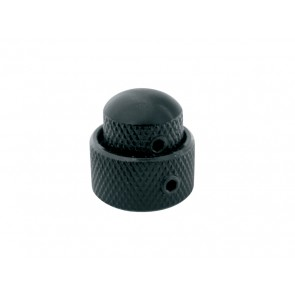 Double dome knob, metal, black, 14x11 + 19x10mm, with set screws allen type, shaft size 6,0 + 6,1