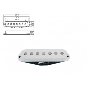 Pickup single coilStrat 7-string, white, vintage alnico