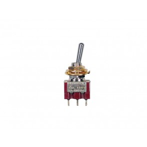 Mini toggle switch 3-way, on-off-on, gold lacquer