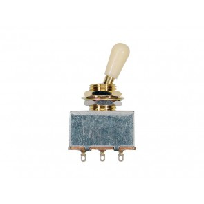Toggle switch 3-way, gold, block shape, ivory knob