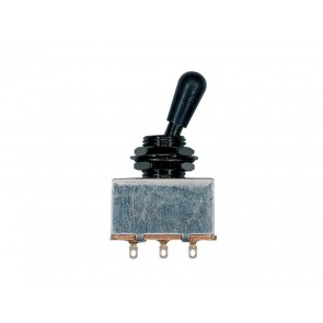 Toggle switch 3-way, black, block shape, black knob